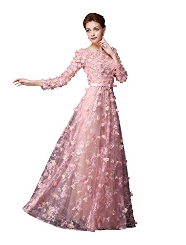 Perlen Blumen Maxi Kleid Beauty Transparent Hülsen lange Spitze Pink Emily Abend Linie qCx15w68