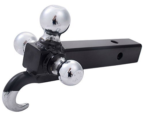 Triple Tri 3 Ball Trailer Hitch Receiver Mount 1 7/8'' 2'' 2 5/16'' Towing w/ Hook