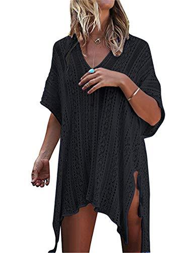 (QIUYEJUO Women's Crochet Bathing Suit Cover Up Bikini Swimsuit Swimwear Beach Dress Black)