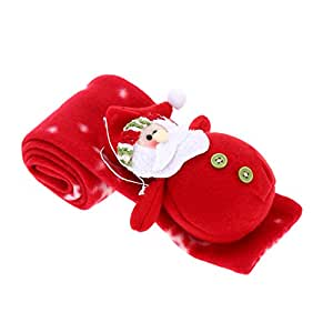 Children's Red Christmas Scarf Cartoon Exquisite Christmas Decoration Unisex Boy Girl Xmas Muffler Cute Santa Claus Adornment Christmas Cloth Accessory Decor
