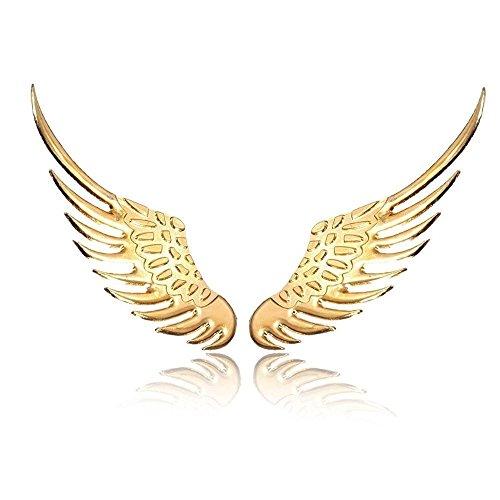 (FinalZ Gold 3D Metal Angel Wings Emblem Decal Sticker - 1 Pairs)