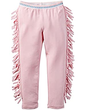 Girl Pink Fringe Leggings
