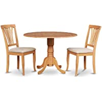 East West Furniture DLAV3-OAK-C 3-Piece Kitchen Table and Chairs Set, Oak Finish