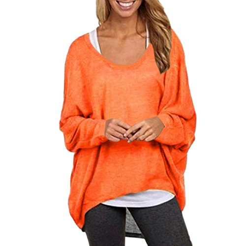 TAORE Women's Plus Size Bat Sleeve Loose Knit Sweater Pullover Casual Tunic Top (L, Orange) (Womens Wear Waterfall)