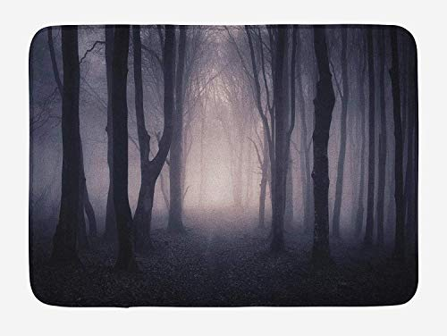 U coolhouse Forest Bath Mat, Path Through Dark Deep in Forest with Fog Halloween Creepy Twisted Branches Picture, Plush Bathroom Decor Mat with Non Slip Backing, 29.5 W X 17.5 W Inches, Pink Brown -