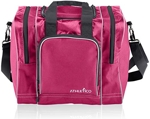 Athletico Bowling Bag for Single Ball - Single Ball Tote Bag with Padded Ball Holder - Fits a Single Pair of Bowling Shoes Up to Mens Size 14 (Pink)