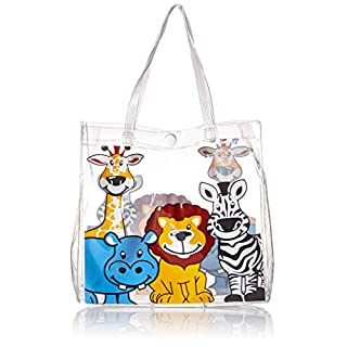 Rhode Island Novelty 8.25 Inch Zoo Animal Plastic Tote Bag One Per Order