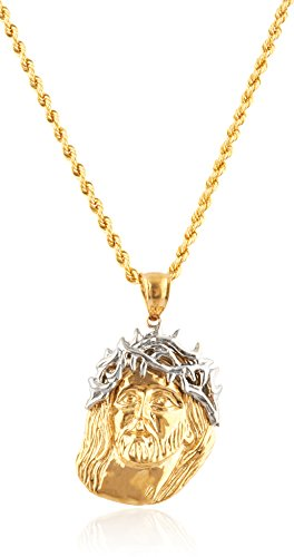 10K Yellow Gold Crown of Thorns Jesus Head Pendant with 2mm 24'' Rope Necklace by JOTW