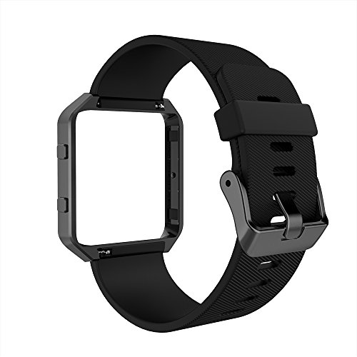Simpeak Fitbit Blaze Bands with Frame, Simpeak Silicone Replacement Band Strap with Frame Case for Fit bit Blaze Smart Fitness Watch, Small/Large
