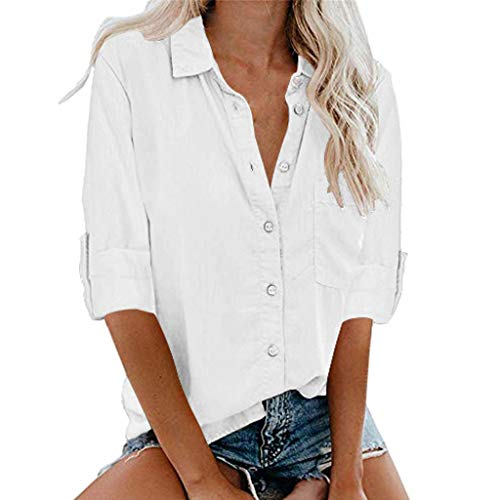 aihihe Plus Size Shirts for Womens Long Sleeve Button Down T-Shirts V Neck Collared Solids Blouse Tops with Pockets(White,XXL(US:16))]()