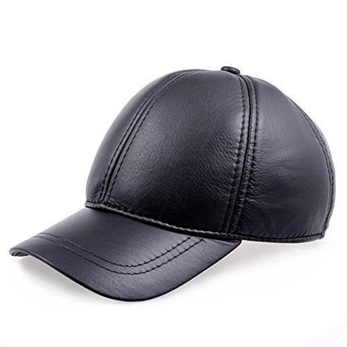 Golf Leather Visor - Vemolla Men's Cow Leather Adjustable Baseball Cap Golf Hat Casual Visor Hat Black Black Line One Size