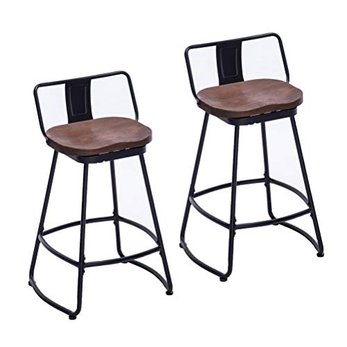 HAOBO Home Bar Stools Industrial Metal bar Stools Counter Height Stools for Indoor/Outdoor Dining Chair Set of 2 (Low Back Swivel Black with Wood U4-M, 26