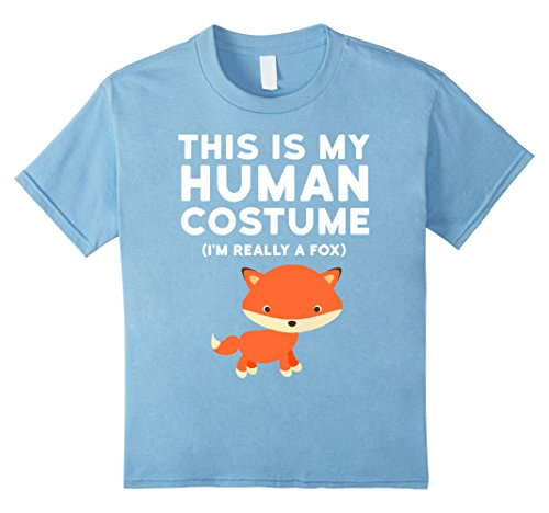 Fox 8 Halloween Costumes (Kids Cute Halloween Fox Shirt - Fox Costume T-Shirt 8 Baby Blue)