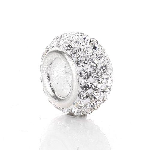JewelrieShop Crystal Rhinestones Spacer Charm European Beads for Bracelet (#001. Crystal)