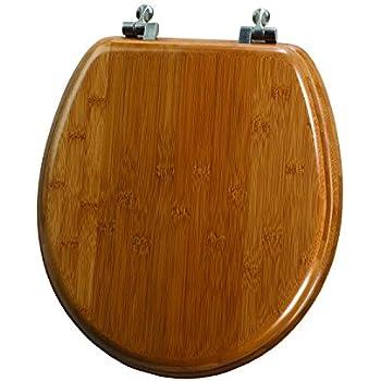 dark brown toilet seat. Mayfair 9401NI 568 Solid Bamboo Toilet Seat with Brushed Nickel Hinges  Round Dark