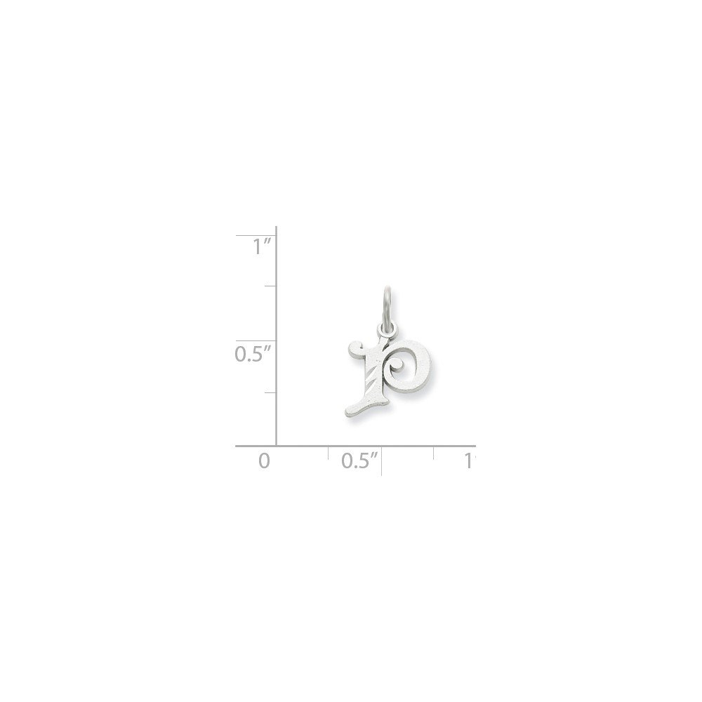14k White Gold Diamond-cut Initial P Charm Pendant
