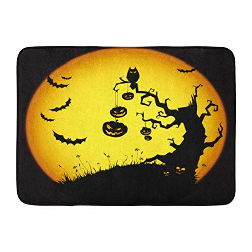 Emvency Doormats Bath Rugs Outdoor/Indoor Door Mat Orange Tree Halloween Yellow Scary Spooky Pumpkin Silhouette Moon Bathroom Decor Rug Bath Mat 16