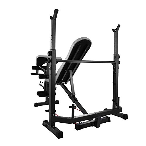Popsport Weight Lifting Bench 440LBS Multi Function Adjustable Weight Bench Inbuilt or Split Leg Extensions Workout Bench for Home Fitness