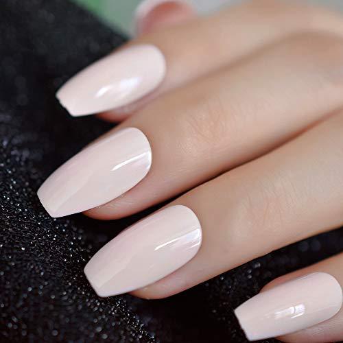 CoolNail Light Orange Pink Ballerina Coffin Nails Natrual Pink False Nail Flat Shape Manicure Fake Nails Tips Daily Office Wear -