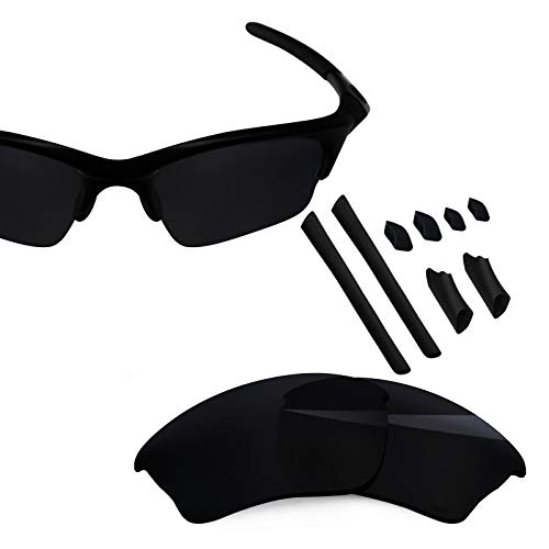 BlazerBuck Polycarbonate Polarized Replacement Lenses & Sock Kit for Oakley Half Jacket XLJ - Black AR Coated