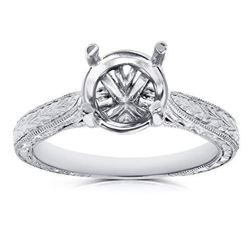 Diamond Semi Mount Engagement Ring Vintage Engraved Antique Style, 18k White Gold (No Center Stone), 4