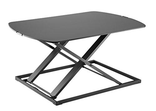 (HUSKK Standing Desk Sit-Stand Desk Converter for Laptop, Desktop, Height Adjustable, Ergonomic, Gas Spring Arm, Free Standing, Easy Installation, Sit-Stand (Medium, Black[DSK007-B]))
