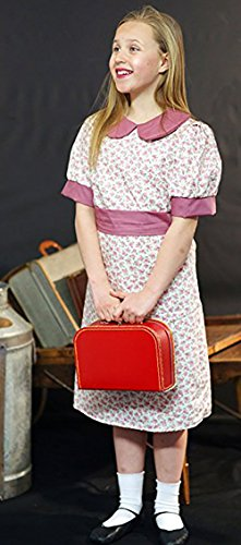 1940'S-WW2-Wartime-NARNIA-World Book Day-School History Fancy Dress Costume Dusky Pink Floral Evacuee Dress - All Ages (Age 11-13)]()