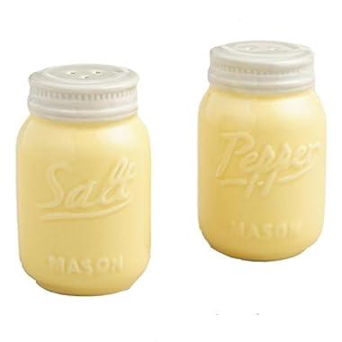 Yellow Ceramic Mason Jar Salt and Pepper Shaker