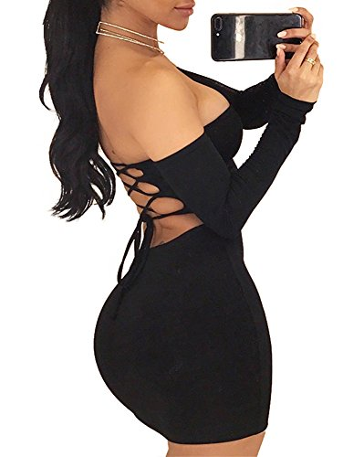 TOB Women's Sexy Off Shoulder Backless Lace Up Club Bodycon Mini Dress,Black,Medium
