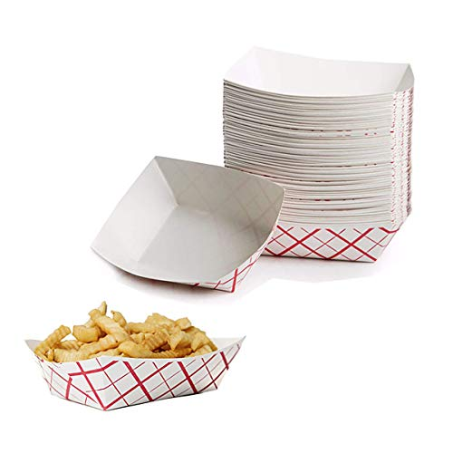 Chicken Fry Nuggets - Shouyi Durable Grease Proof Sturdy Food Trays 150 Pack Coated Paperboard Ideal for Festival, Food Service Agencies And Concession Stand Treats Like Fries, Chicken Nuggets, Ice Cream, Popcorn or Snacks