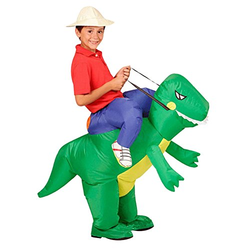 Rider Girl Costume (Inflatable T-Rex Dinosaur Fancy Dress Unisex Party Costume Suit Dino Rider (Child))
