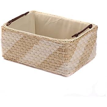 Amazon.com: Household Essentials Large Rectangular Floor Storage Basket with Braided Handles