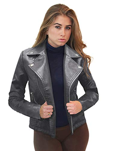 Womens Faux Leather Zip Up Moto Biker JK5208X Gray 1X (Gray Leather Jacket)