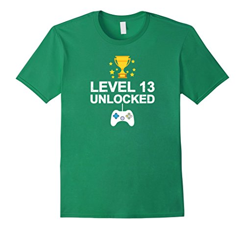 Mens 13th Birthday Level 13 Unlocked Funny T-shirt Gamer Gift Kid Small Kelly Green (13th Green)