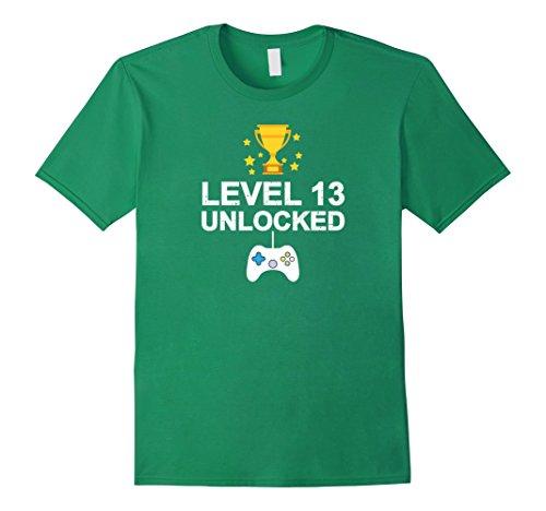 Mens 13th Birthday Level 13 Unlocked Funny T-shirt Gamer Gift Kid Small Kelly Green (13th Green)