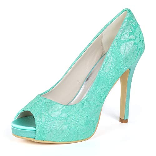 L Frauen Hochzeit YC Bänder 42 High 35 Blume Mid Heels Blue Dress Plattform Elfenbein Schuhe Größe rrqSwxH5
