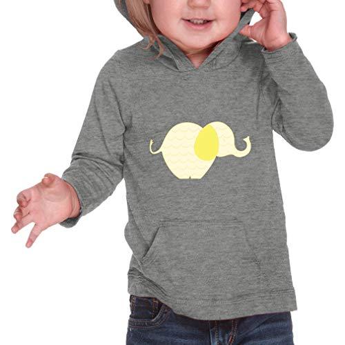 - Wave Yellow Elephant Long Sleeve Hooded Infant Boys-Girls Cotton/Polyester RawEdge Hoodie Sweatshirt - Heather Gray, 12 Months