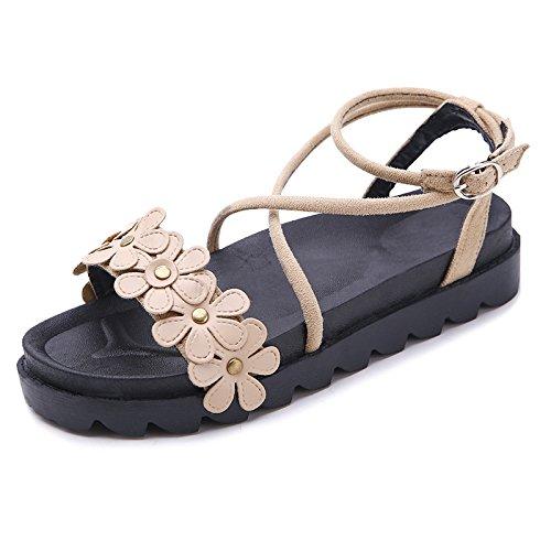Doigts Avec Femmes Kaki Fleurs pais Pour Chaussures Yalanshop OItqw4I