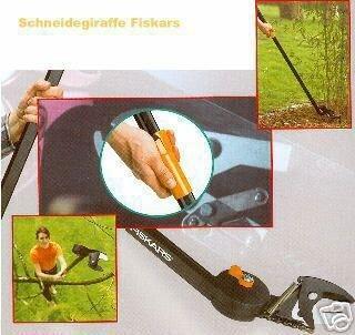 FISKARS Schneidgiraffe + Adapter-Säge + Verlängerung