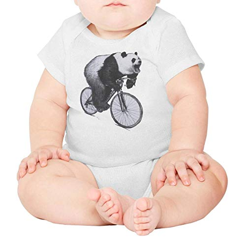 Price comparison product image Panda Roaring On A Bicycle Infant Boys Girls Short Sleeve Baby Onesie Toddler Clothes