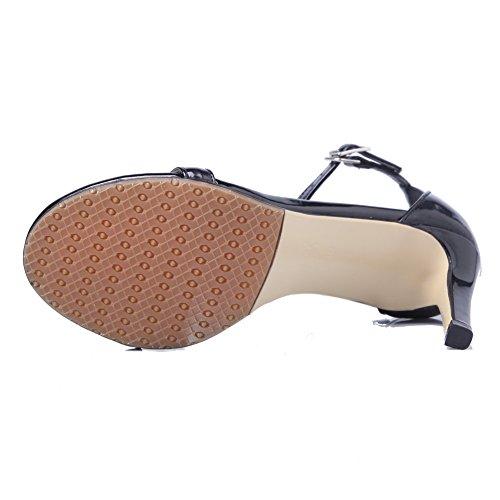 Black Patent Buckle Leather Toe Heels Open Solid Kitten Womens Sandals AmoonyFashion 7Fv1W