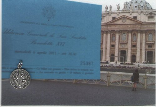 Saint St Benedict Medal Pope Blessed on April 6, 2011 with Holy Card and Velour Bag