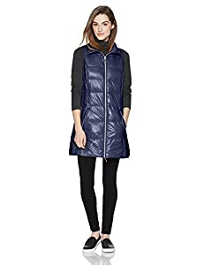 Coatology Women's Classic Long Down Vest, Navy, L