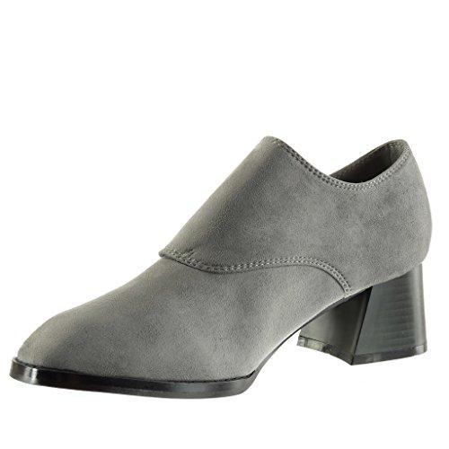 Angkorly Zapatillas de Moda Botines low boots mujer Hebilla tanga Talón Tacón ancho alto 5 CM Gris