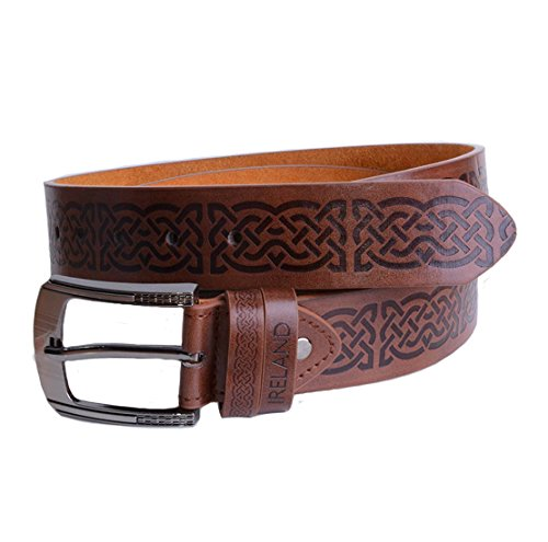 Brown Leather Belt With Celtic - Irish Belt