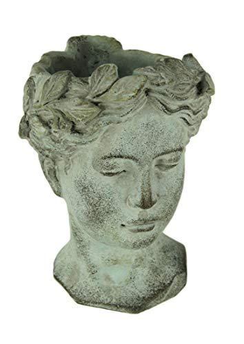 - Distressed Cement Classic Greek Lady Head Indoor/Outdoor Planter