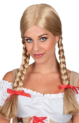 Braided Pigtail (Adults Ladies Blonde Braided Pigtails with Red Bow Fancy Dress Accessory)