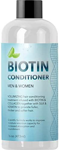 Natural Biotin Conditioner For Hair Loss - DHT Blocker Hair Growth Hair Follicle Stimulator - Dry Damaged Hair Treatment Sulfate Free With Aloe Vera Jojoba Oil Sea Buckthorn and Argan Oil, 16oz, 473ml