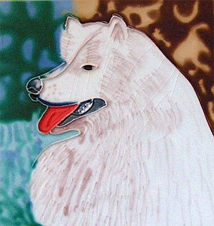 Samoyed Dog Decorative Ceramic Wall Art Tile 6x6
