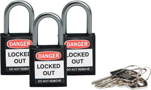 Brady 118969 Black, Brady Compact Safety Lock - Keyed Alike (3 Locks) by Brady